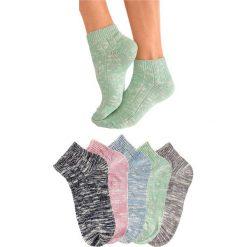 Skarpetki damskie: Krótkie skarpetki damskie Arizona (5 par) bonprix niebieski dżins + beżowy + jasnoróżowy + ciemnoniebieski + zielony