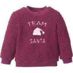 """Sweter z polaru """"baranka"""" bonprix jeżynowy Santa. Czarne swetry dziewczęce marki bonprix, w paski, z dresówki. Za 21,99 zł."""