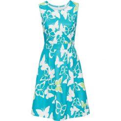 Sukienka z nadrukiem w motyle bonprix turkusowo-kremowy wzorzysty. Niebieskie sukienki letnie bonprix, z nadrukiem. Za 37,99 zł.