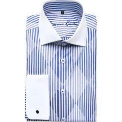 Koszula VITTORE slim 14-09-25. Białe koszule męskie na spinki Giacomo Conti, m, w paski, z bawełny, z włoskim kołnierzykiem. Za 199,00 zł.