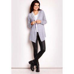 Swetry oversize damskie: Niebieski Sweter z Kapturem bez Zapięcia