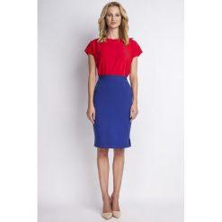Spódniczki: Ołówkowa Chabrowa Spódnica Midi z Wysokim Stanem