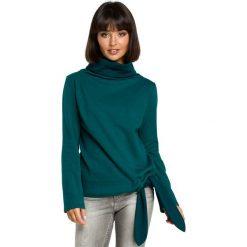 Zielona Elegancka Bluza z Wysokim Kołnierzem. Zielone bluzy rozpinane damskie Molly.pl, l, z długim rękawem, długie. Za 124,90 zł.
