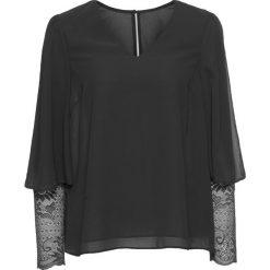 Bluzki asymetryczne: Bluzka z rękawami koronkowymi bonprix czarny