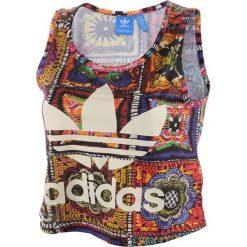 Koszulka sportowa damska ADIDAS CROCHITA TANK / AY6844. Brązowe topy sportowe damskie adidas Originals, z nadrukiem. Za 85,00 zł.