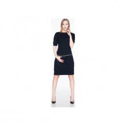 Sukienka z dresówki z poziomym zamkiem SL2163B. Czarne sukienki balowe marki Soleil, na imprezę, s, w kolorowe wzory, z bawełny, z długim rękawem, mini, dopasowane. Za 129,00 zł.
