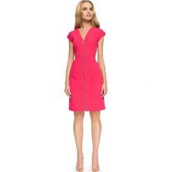 Fuksja Dopasowana Sukienka z Długim Zamkiem. Czerwone sukienki balowe marki Lemoniade, na imprezę, z satyny, z kopertowym dekoltem, z długim rękawem, kopertowe. Za 124,90 zł.