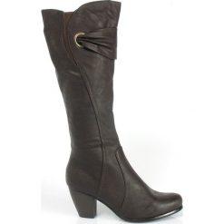 SERGIO LEONE Brązowe SMUKŁE KOZAKI. Brązowe buty zimowe damskie Sergio Leone, na wysokim obcasie, na obcasie. Za 74,50 zł.