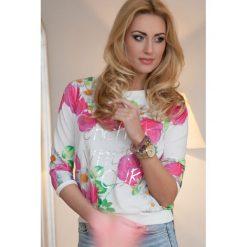 Bluza z nadrukiem różowa. Białe bluzy z nadrukiem damskie marki Fasardi, l. Za 49,00 zł.