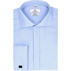 Koszula wincass 2407 na spinki slim fit niebieski. Szare koszule męskie na spinki marki Recman, na lato, l, w kratkę, button down, z krótkim rękawem. Za 169,00 zł.