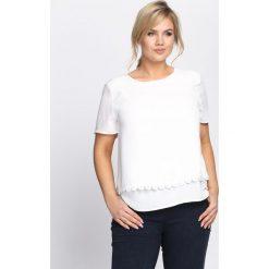 Biała Bluzka Chaplet. Białe bluzki asymetryczne Born2be, xl, z falbankami, z krótkim rękawem. Za 34,99 zł.