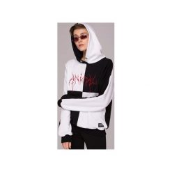Bluzy damskie: Black and White Hoodie Bluza