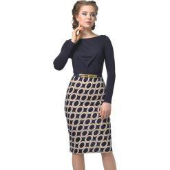 Długie sukienki: Sukienka w kolorze beżowo-granatowym