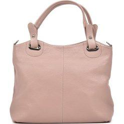 Torebki klasyczne damskie: Skórzana torebka w kolorze jasnoróżowym – 39 x 28 x 13 cm