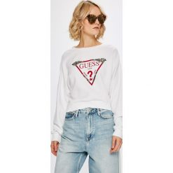 Guess Jeans - Bluza. Szare bluzy rozpinane damskie Guess Jeans, l, z aplikacjami, z bawełny, bez kaptura. Za 369,90 zł.