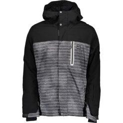 Kurtka narciarska w kolorze czarno-szaro-białym. Białe kurtki męskie marki Billabong, m, w paski. W wyprzedaży za 385,95 zł.