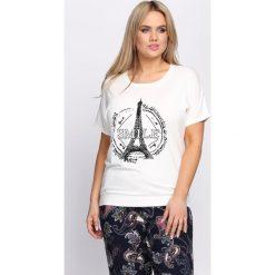 T-shirty damskie: Kremowy T-shirt Pinky Promises