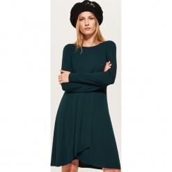 Sukienka z ozdobnym marszczeniem - Zielony. Zielone sukienki z falbanami marki House, l. Za 79,99 zł.