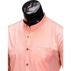 KOSZULA MĘSKA Z DŁUGIM RĘKAWEM K353 - MORELOWA. Brązowe koszule męskie na spinki marki Ombre Clothing, m, z aplikacjami, z kontrastowym kołnierzykiem, z długim rękawem. Za 59,00 zł.