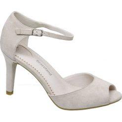 Sandały peep toe Graceland beżowe. Brązowe sandały damskie Graceland, z materiału, na obcasie. Za 89,90 zł.