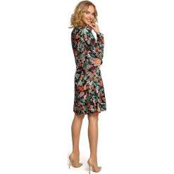 MADISON Sukienka trapezowa - kwiatowy. Szare sukienki balowe Moe, z nadrukiem, z dekoltem w serek, z długim rękawem, midi, trapezowe. Za 169,90 zł.