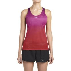 Koszulka do biegania damska SAUCONY ENDORPHIN SINGLET / SAW800094-VA - ENDORPHIN SINGLET. Różowe bluzki asymetryczne Saucony, na ramiączkach. Za 90,00 zł.