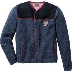Swetry rozpinane męskie: Sweter rozpinany w ludowym stylu Regular Fit bonprix ciemnoniebieski melanż