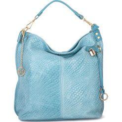 Shopper bag damskie: Skórzany shopper bag w kolorze błękitnym – 42 x 38 x 17 cm