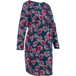 Sukienka ciążowa bonprix ciemnoniebieski z nadrukiem. Niebieskie sukienki ciążowe marki DOMYOS, z elastanu, street, z okrągłym kołnierzem. Za 99,99 zł.
