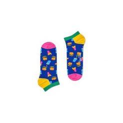 Skarpetki Happy Socks - Hamburger Low (HAM05-6000). Szare skarpetki męskie Happy Socks, w kolorowe wzory, z bawełny. Za 27,90 zł.