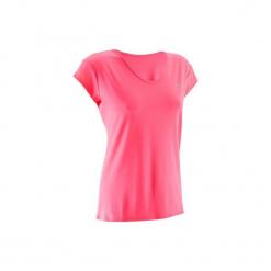 Koszulka fitness krótki rękaw ENERGY damska. Czerwone bluzki sportowe damskie DOMYOS, z elastanu, z krótkim rękawem. Za 19,99 zł.