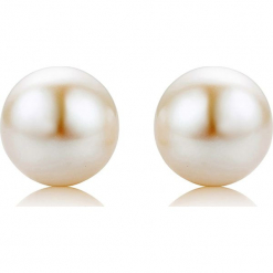 Kolczyki-wkrętki z perłami w kolorze białym. Białe kolczyki damskie REVONI, z perłą, złote, z zapięciem typu bigiel. W wyprzedaży za 129,95 zł.