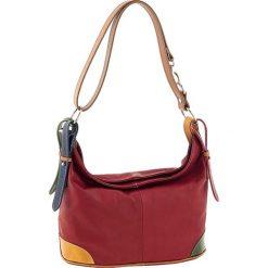 Torebki klasyczne damskie: Skórzana torebka w kolorze czerwonym ze wzorem – 30 x 25 x 16 cm