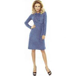 Sukienka z Kokardą przy Dekolcie w Groszki. Niebieskie sukienki koktajlowe marki Molly.pl, na imprezę, l, w grochy, z tkaniny, z kokardą, z długim rękawem, oversize. Za 146,90 zł.