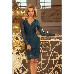 Dakota Sukienka koronkowa z długim rękawkiem i DEKOLTEM - ZIELONA. Zielone sukienki numoco, s, z koronki, eleganckie, z klasycznym kołnierzykiem, z długim rękawem. Za 219,99 zł.