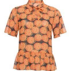 Bluzki damskie: Bluzka z krawatką bonprix pomarańczowy z nadrukiem
