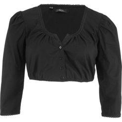 Bluzka ludowa z koronką z motywem precli bonprix czarny. Czarne bluzki koronkowe marki bonprix. Za 54,99 zł.