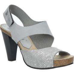 Szare sandały skórzane na słupku Nessi 42103. Czarne sandały damskie na słupku marki Nessi, z materiału. Za 208,99 zł.