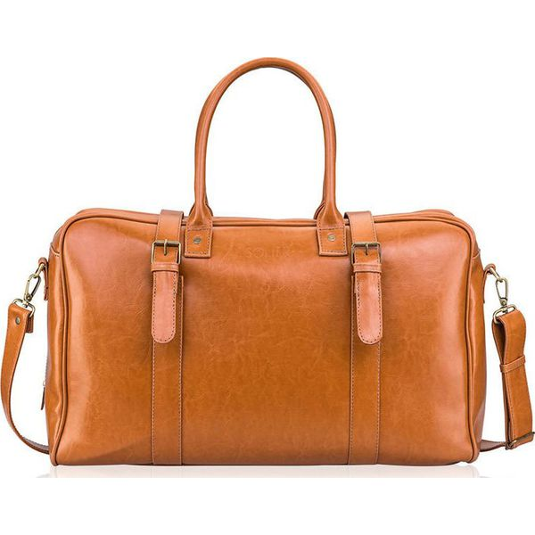 Skórzana torba męska podróżna, weekendowa Solier jasnobrązowa jasny brąz