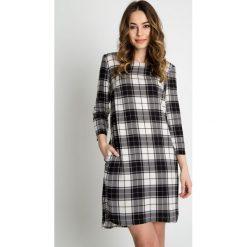 Sukienki: Czarno-biała sukienka w kratę z rękawem 3/4 BIALCON