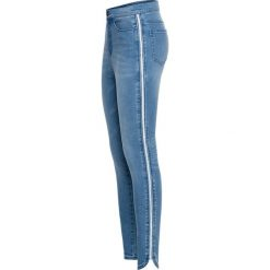Spodnie z wysokim stanem: Dżinsy Super Skinny z połyskującą wstawką bonprix niebieski bleached