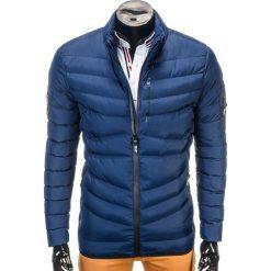 KURTKA MĘSKA ZIMOWA PIKOWANA C314 - GRANATOWA. Zielone kurtki męskie pikowane marki Ombre Clothing, na zimę, m, z bawełny, z kapturem. Za 79,00 zł.