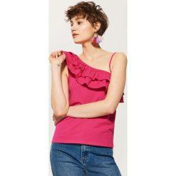 Topy damskie: Top z asymetrycznym dekoltem – Różowy