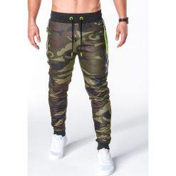 SPODNIE MĘSKIE DRESOWE P657 - ZIELONE/MORO. Zielone spodnie dresowe męskie Ombre Clothing, moro, z bawełny. Za 69,00 zł.