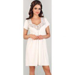 Koszula nocna dla ciężarnych i karmiących Sharon. Szare bielizna ciążowa Astratex, w koronkowe wzory, z koronki, moda ciążowa. Za 125,99 zł.