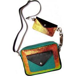 Torebki klasyczne damskie: Torebka Double Bag – ledowy kroko zielono-rudy