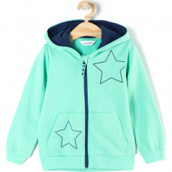 Bluza. Zielone bluzy dziewczęce rozpinane marki BASIC GIRL, z aplikacjami, z bawełny, z długim rękawem, długie, z kapturem. Za 47,90 zł.