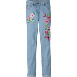 Dżinsy Skinny z haftem bonprix niebieski bleached. Czarne jeansy dziewczęce marki bonprix, w paski, z dresówki. Za 79,99 zł.