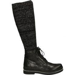 Kozaki - 18472 SYH NER. Czarne buty zimowe damskie marki Venezia, z materiału, na obcasie. Za 279,00 zł.