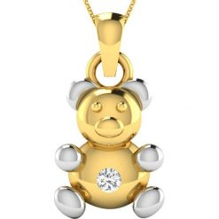 Naszyjniki damskie: Pozłacany naszyjnik z zawieszką z diamentem – dł. 40 cm